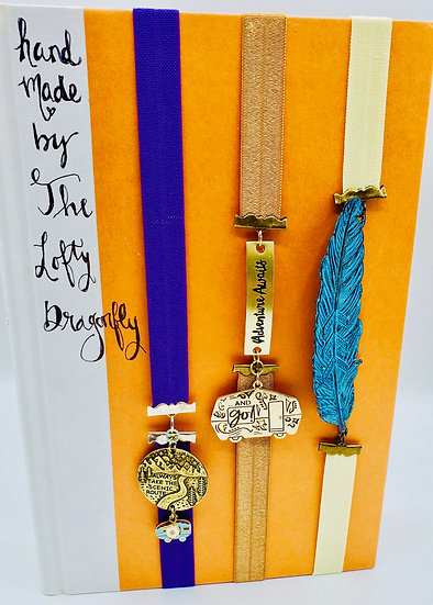3 Stretchy Bookmarks: Take Scenic Route/Adventure Awaits/Feather ElasticBands