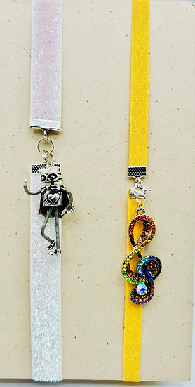 SuperHero Robot & Colored Treble Clef Stretchy Bookmark Gifts
