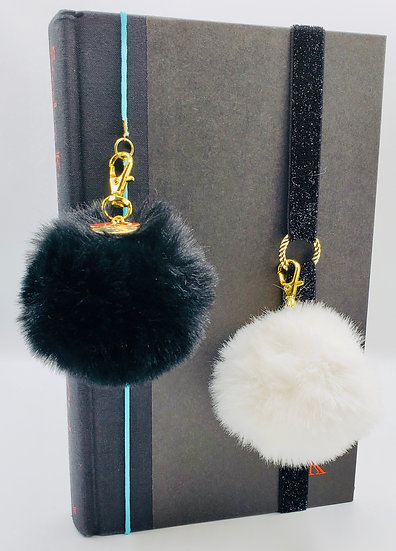 2 Fur Ball Bookmarks And/Or Backpack Gifts: Black Fur Ball & White Fur Ball Gift