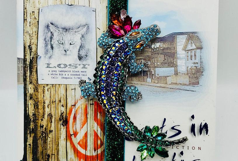 Multi-Colored Rhinestone Alligator Brooch Stretchy Bookmark Gift