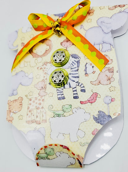 Gender Unknown Onesie-Shaped Baby Card With Pocket For A Gift Tag