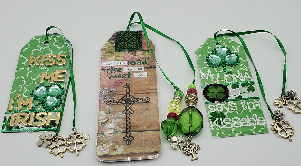 3 St. Patrick's Day Bookmarks: Kiss Me, I'm Irish/May The Road Meet You/My DNA