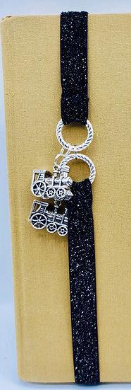 Elastic Bookmark: The Train On Stretchy Black Glitter Ribbon