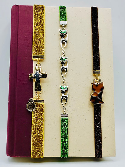 Elastic Bookmarks: Cross In Silver/Gold, Green-Eyed Cats & Amber Fox Bookmarks