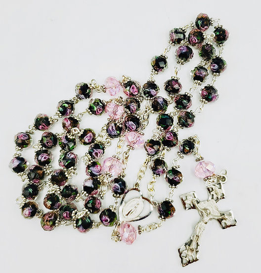 Lamp Work Rosary With Faceted Czech Glass Beads, Decade & Hail Mary Beads