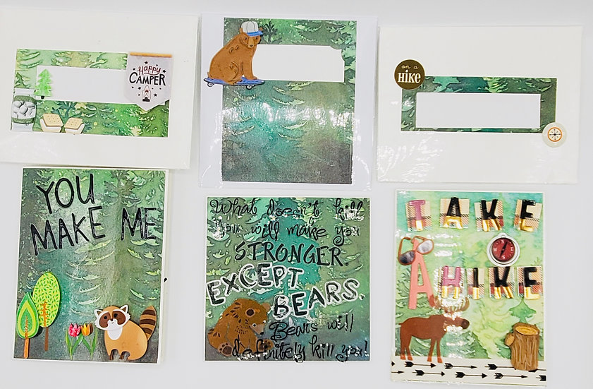 3 Nature Lover Greeting Cards: You Make Me A Happy Camper/ Bears/Take A Hike