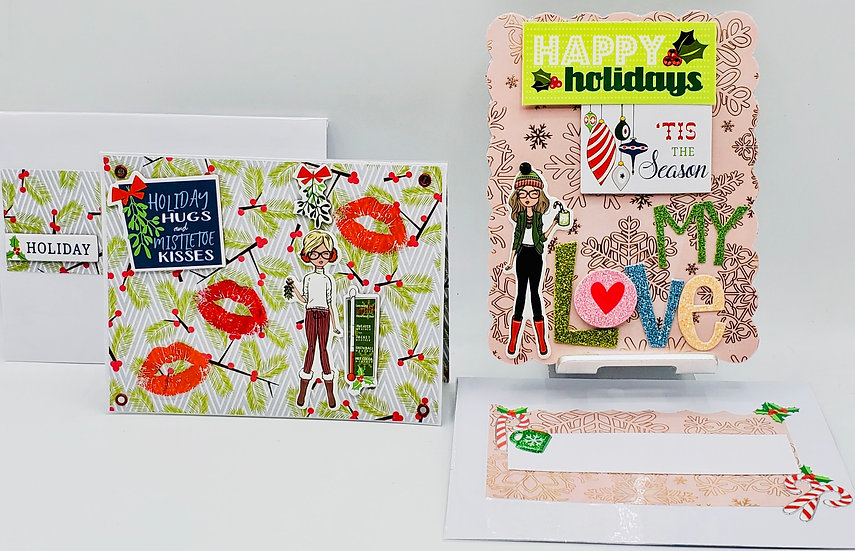 2 Holiday Cards: Holiday Hugs and Mistletoe Kisses/Happy Holidays Tis The Season