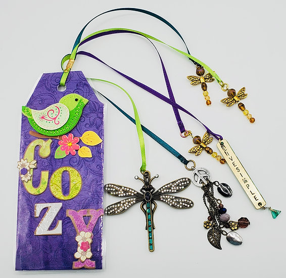 Cozy Lazy Day Live Simple Bookmark Gift/Dragonflies & A Green Bird Gift Bookmark
