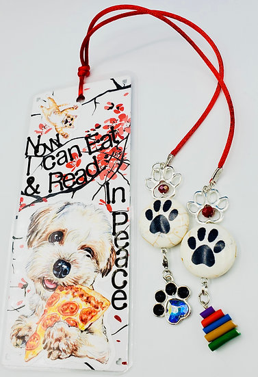 Now I Can Eat & Read In Peace White Puppy Dog Bookmark Gift