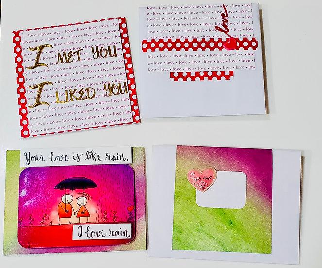 2 Serious Love Cards: I Met You. I Liked You/Your Love Is Like Rain. I Love Rain