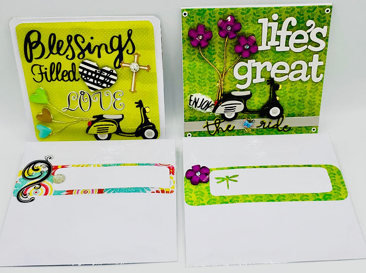 2 Enjoy The Ride Cards: Blessings Filled With Love/Life Is Great Enjoy The Ride