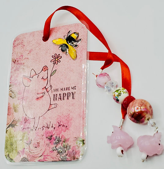 You Make Me Happy Life Is Simple Enjoy The Wallow! Pink Pig Bookmark