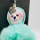 Thumbnail: 3 Teal Fur Ball Bookmarks/Backpack Charm Gifts: Pug, Sloth, and Glass Wearer