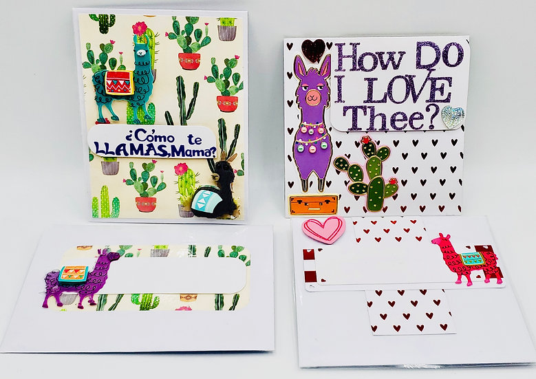 2 Llama Love Cards: Como Te Llamas, Mama? Card/How Do I Love Thee?  Llama Count