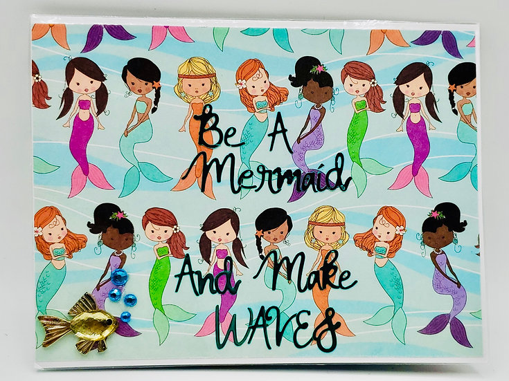 Be A Mermaid & Make Waves Girly Greeting Card