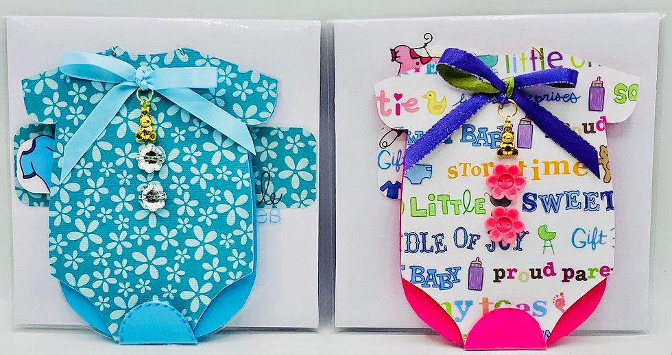 Baby Shower Greeting Cards: Blue Baby Boy & Pink Baby Girl Onesie-Shaped Cards