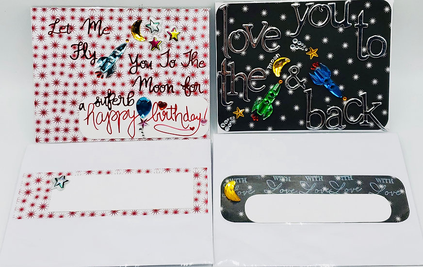 2 To The Moon Bday Cards: Let Me Fly You To The Moon/Love You To The Moon & Back