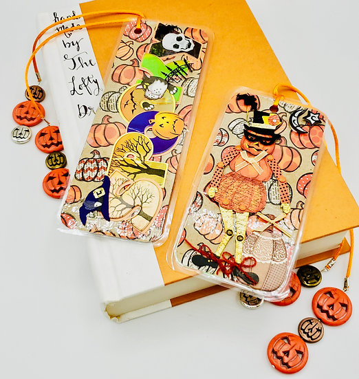 2 Halloween Bookmarks: Spooky Halloween/Posable Scarecrow Creepy Owls