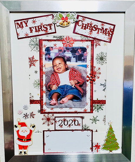 My First Christmas Scrapbooking Design Frame Gift/First Xmas For Baby Or Pet