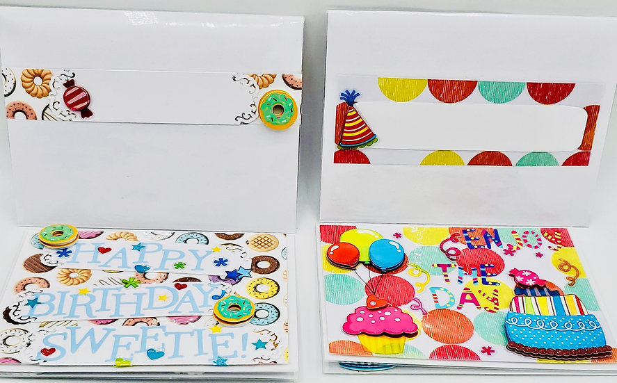 2 SWEET Birthday Cards: Happy Birthday Sweetie (Donuts)/Enjoy The Day (Cupcakes)