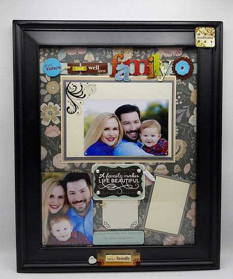 Family A Family Makes Life Beautiful Scrapbooking Gift Frame Design