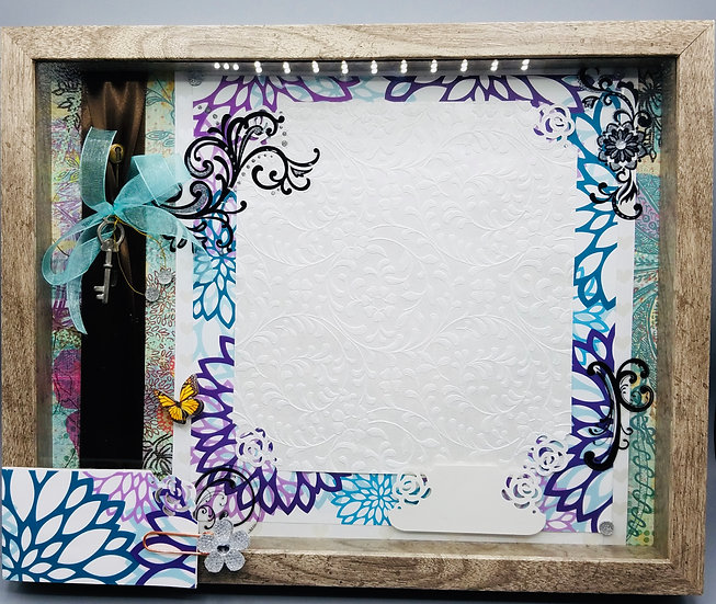 Key w/Purple & Turquoise Flowers