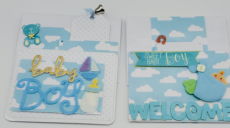 2 Baby Boy Blue Skies & White Clouds Cards: Baby Boy/Sweet Baby Boy Welcome Home