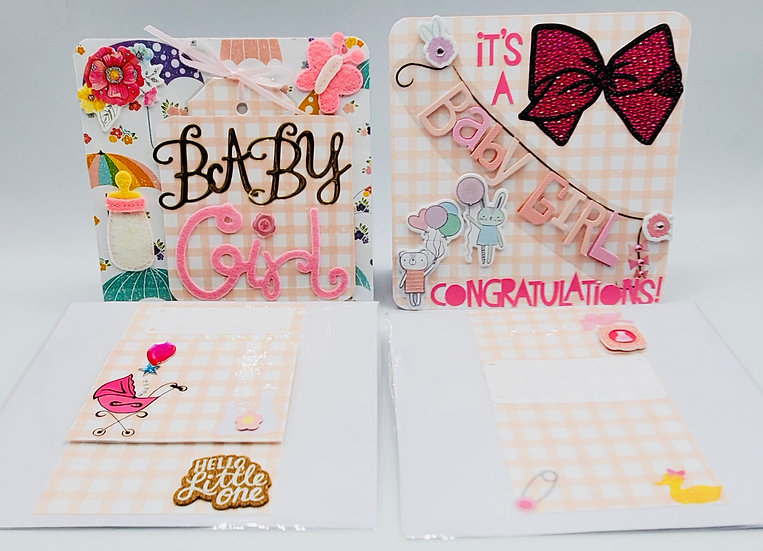 2 Baby Girl Cards/It's A Baby Girl Congratulations/Baby Girl Sweet Baby.Eat.Slee