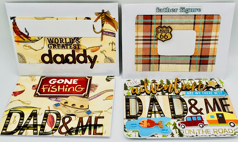 2 Dad And Me Cards: Gone Fishing Greeting Card/Our Adventure On The Road Card