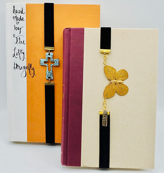 2 Stretchy Bookmarks: Butterfly & Turquoise Cross (Tangerine and Chipmunk)