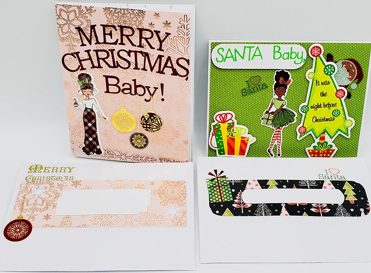 2 Female Holiday CardsTo Her Sweetie: Santa Baby/Merry Christmas, Baby