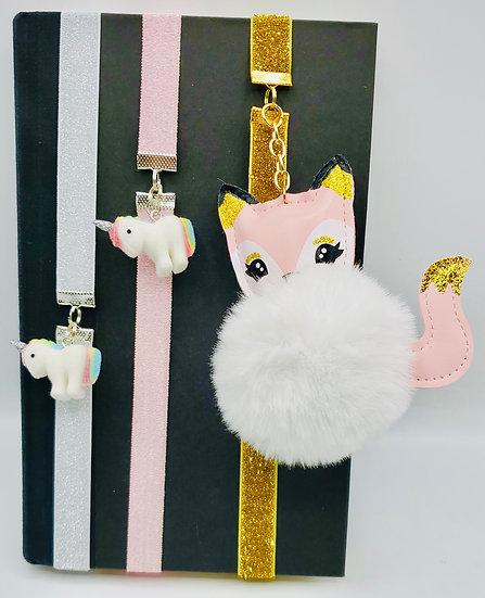3 Ribbon Bookmarks: Unicorns and A Fox Glittery Ribbon Bookmarks Gifts