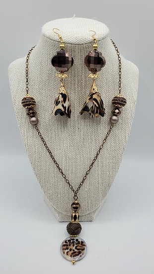 """Jungle Boogie"" Collection: Brown & Beige Cheetah Print Jewelry Set Gift"