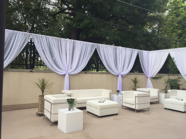 white curtains outdoor event denver