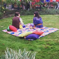 people sitting on blanket in denver