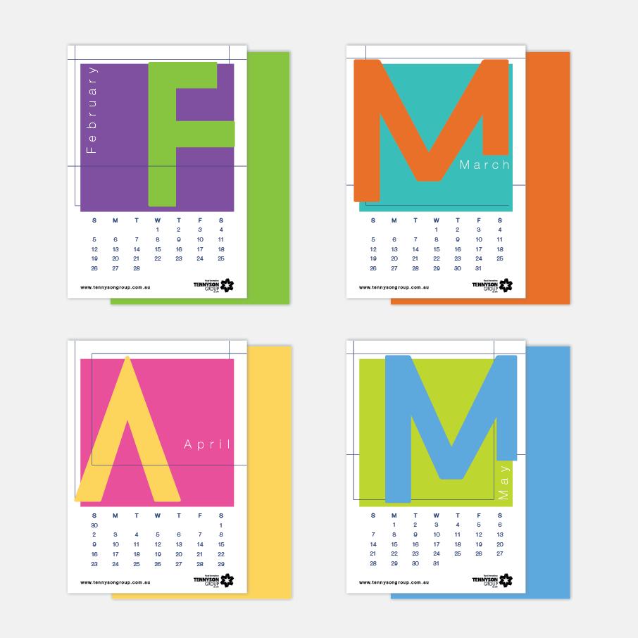 Bright Typography Calendar Design