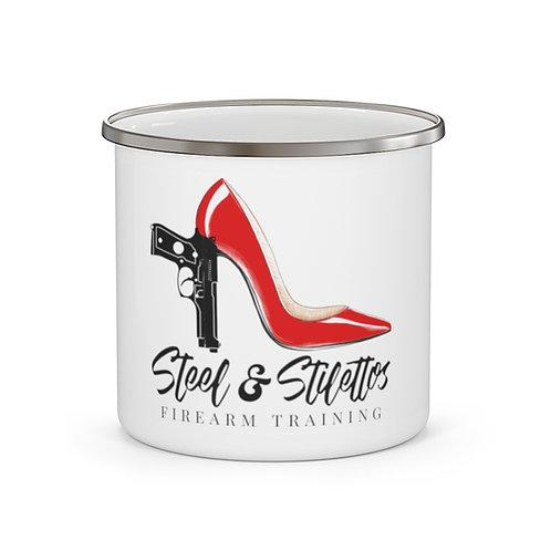 Steel and Stilettos Enamel Camping Mug