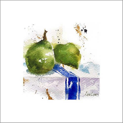 Pears on French Towel