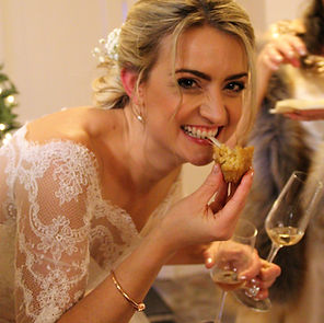Bride enjoying arancini canapes with cha