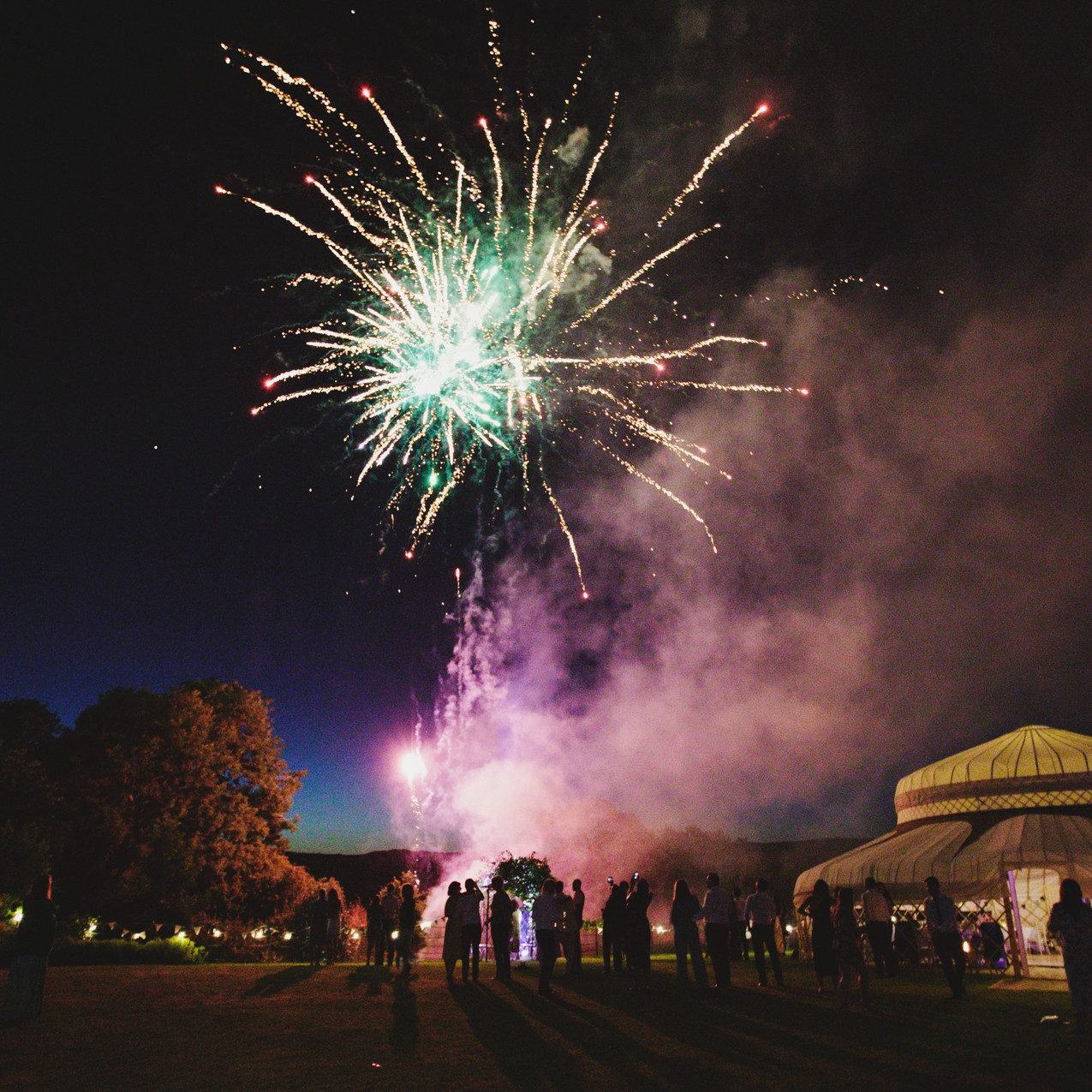 Yurt evening corporate event and fireworks