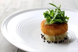 Salmon fish cakes, mash and caviar