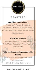 Autumn menu starter course for wedding breakfast