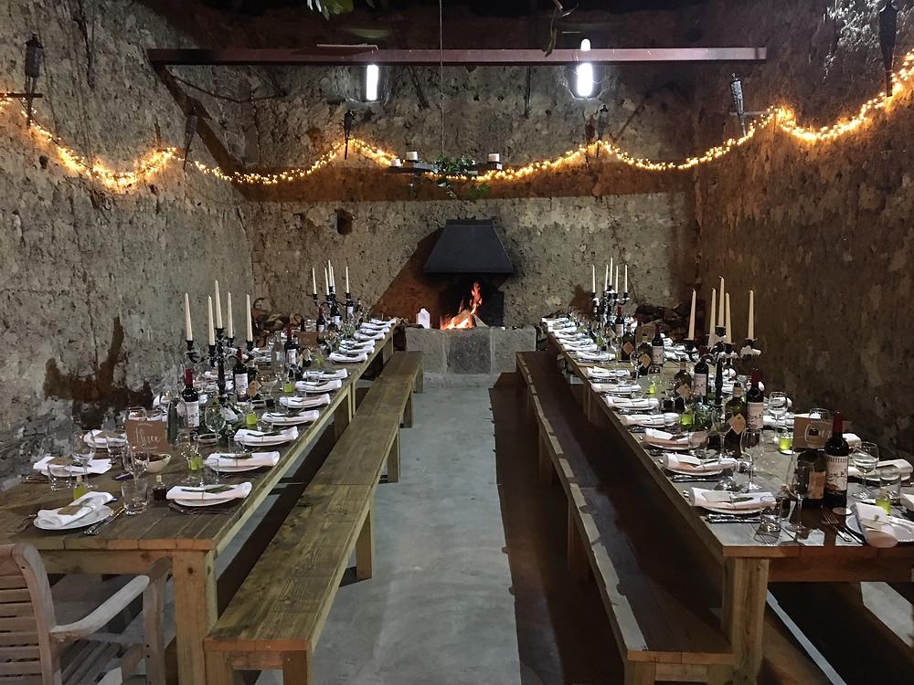 Barn banquet tables wedding breakfast in Devon