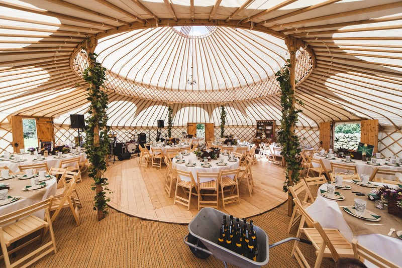 Yurt interior set up for wedding