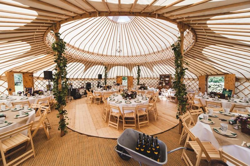 Yurt wedding breakfast catering outdoors