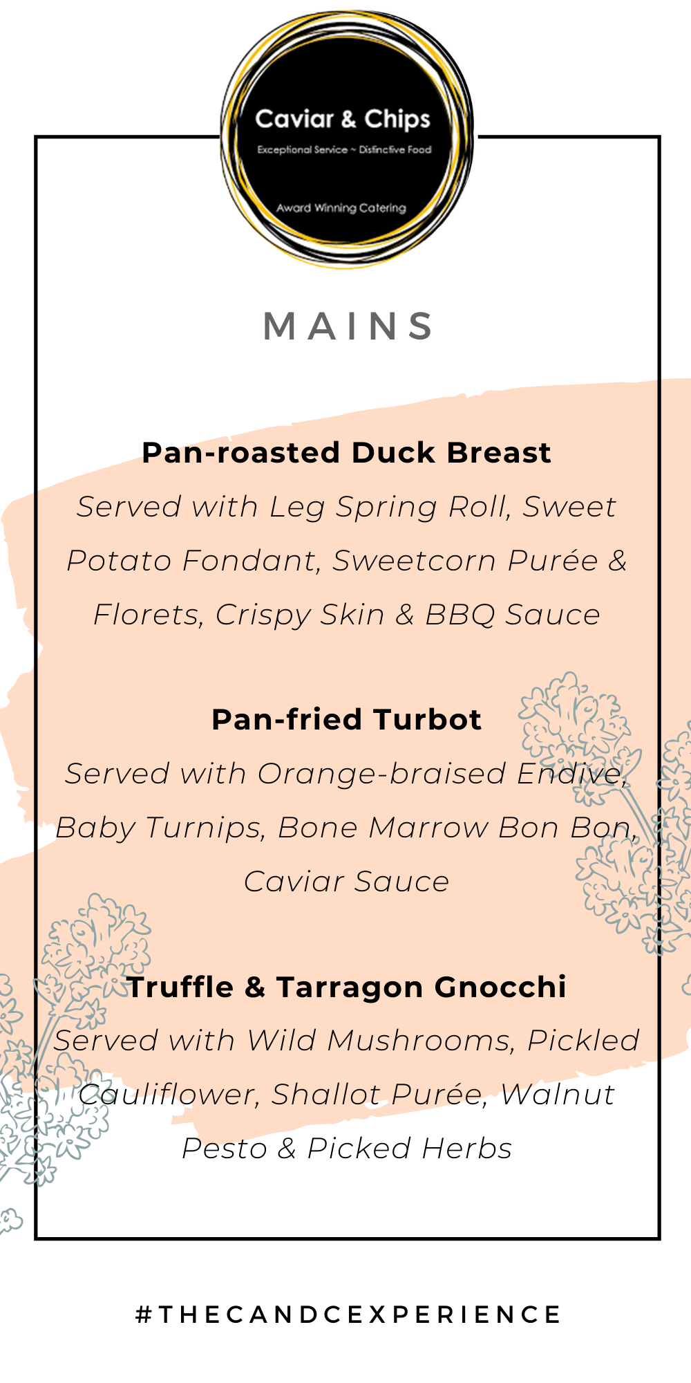 Main course ideas for a autumn inspired wedding menu