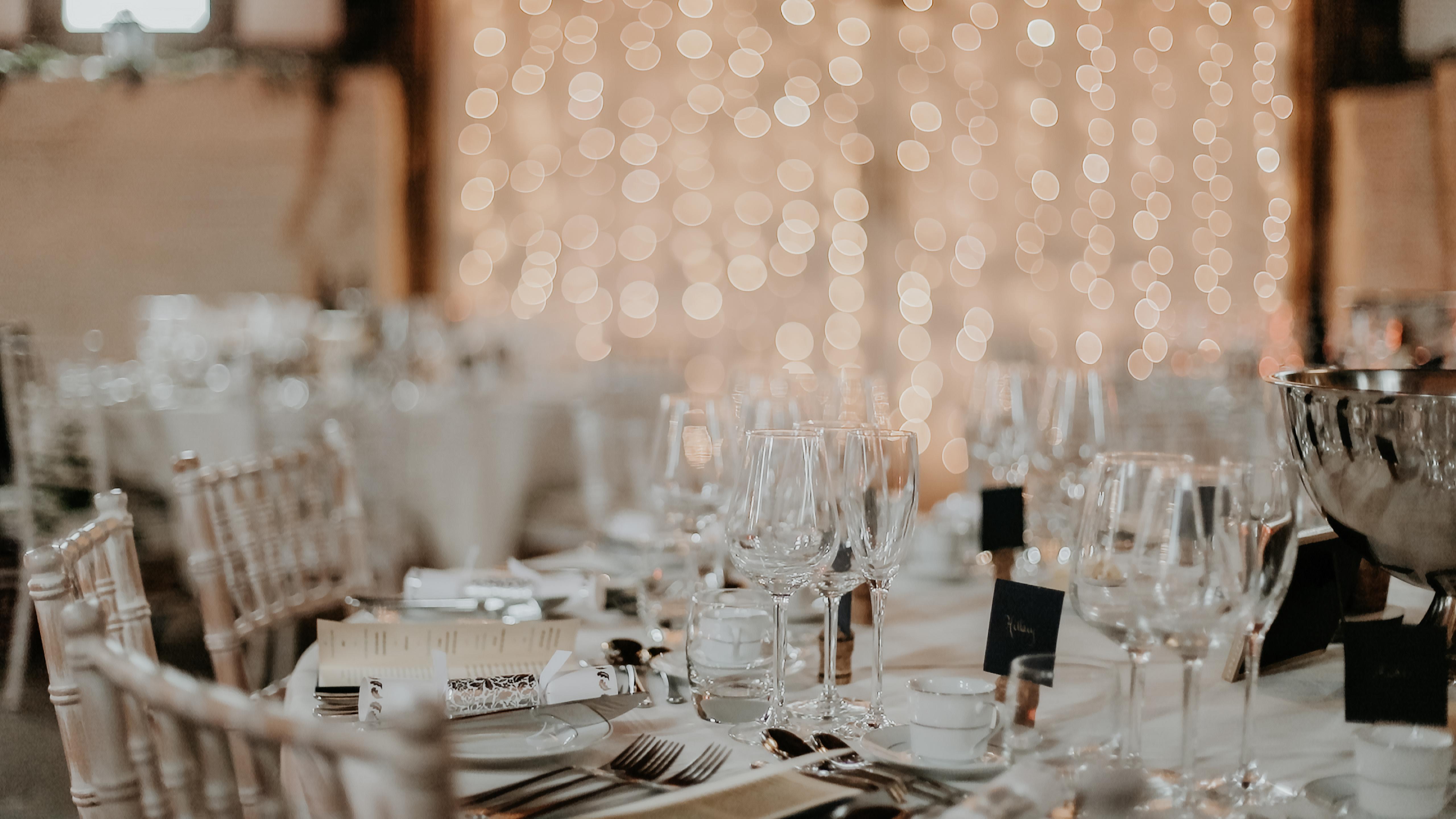 Wedding breakfast table set up