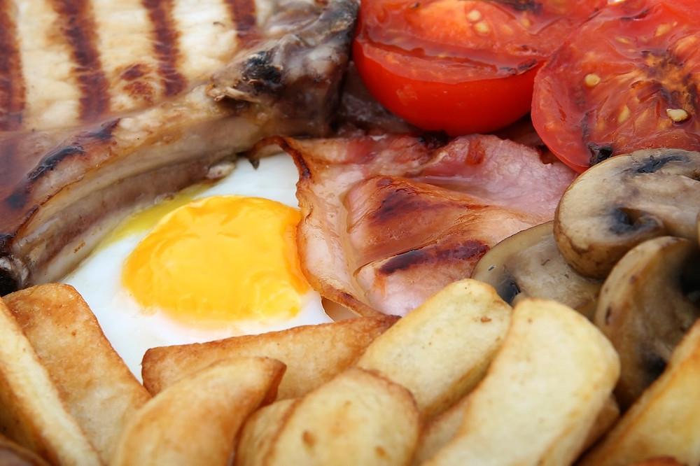 British breakfast brunch eggs and bacon