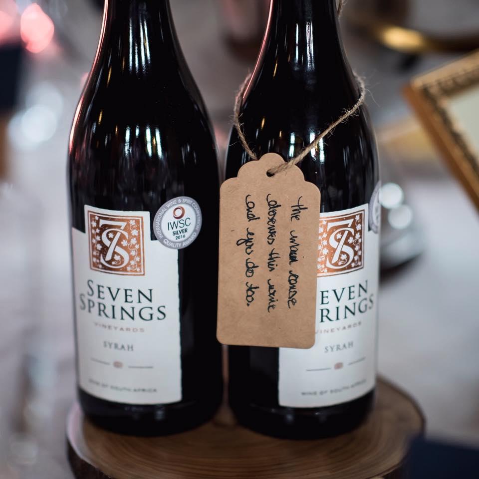 Seven Springs Syrah wine served at weddi