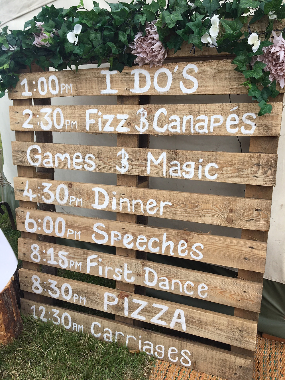 Wedding day timings and format